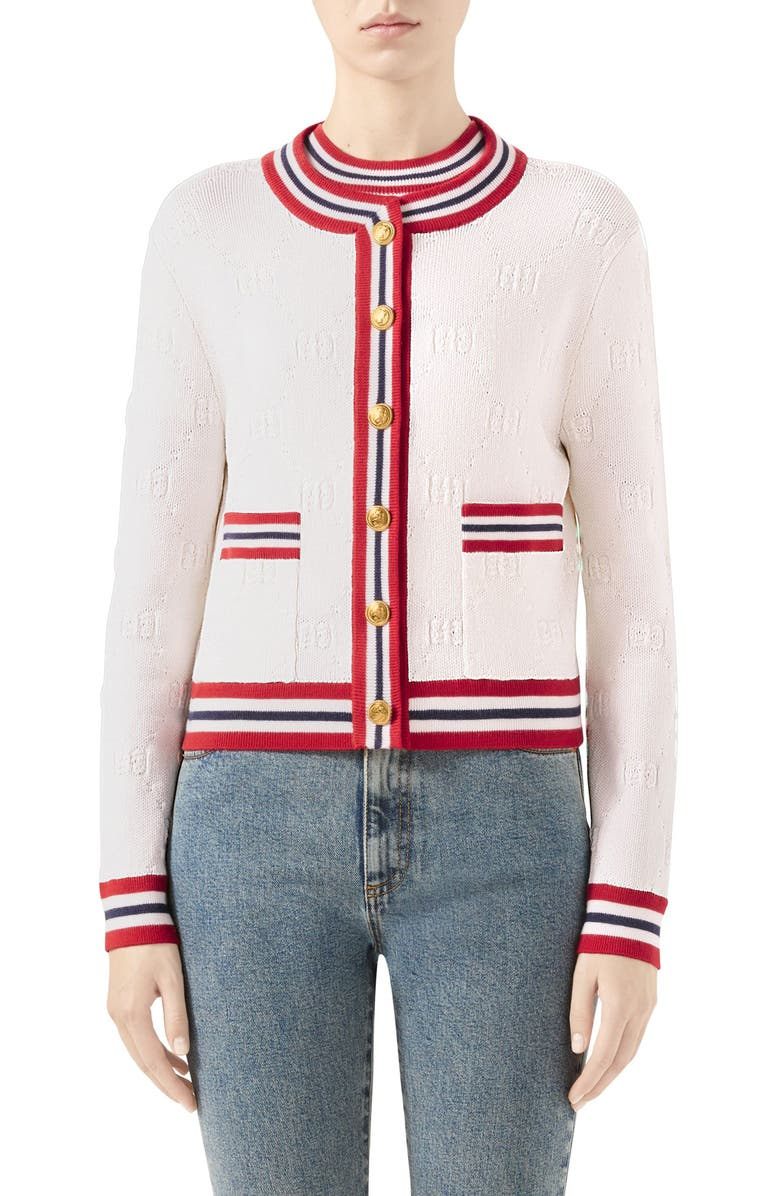GUCCI GG Logo Embossed Cardigan, Main, color, IVORY/ RED