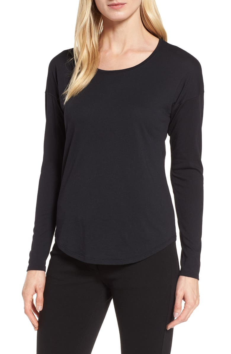NORDSTROM SIGNATURE Long Sleeve Tee, Main, color, 001