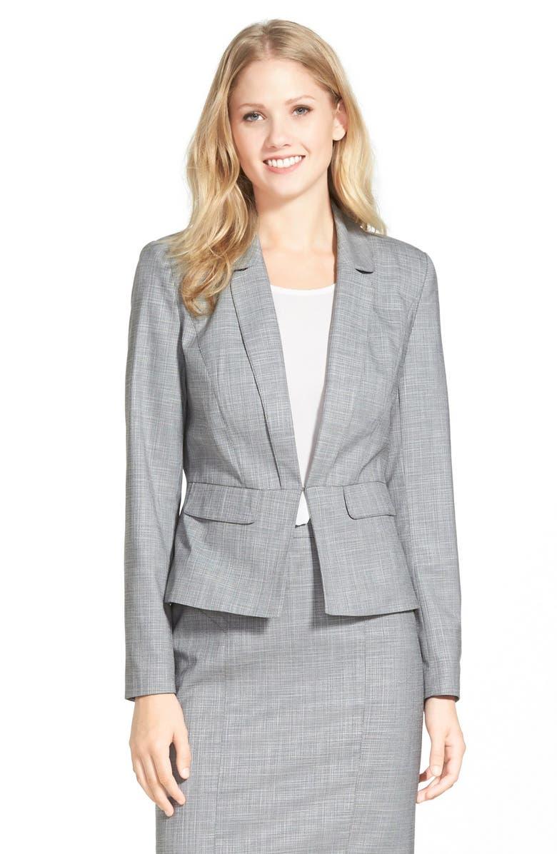 HALOGEN<SUP>®</SUP> Crosshatch Peplum Suit Jacket, Main, color, 050