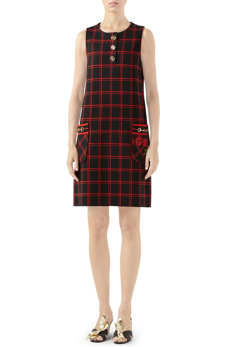 GUCCI Patch Embellished Check Jacquard Dress, Main, color, BLACK/ RED