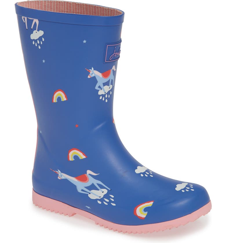 JOULES Roll Up Waterproof Rain Boot, Main, color, BLUE UNICORN CLOUDS