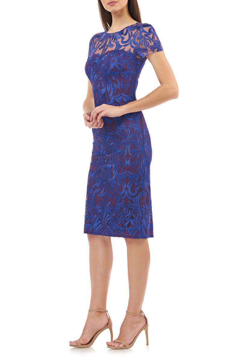 JS COLLECTIONS Lace Cocktail Dress, Main, color, ROYAL VIOLET