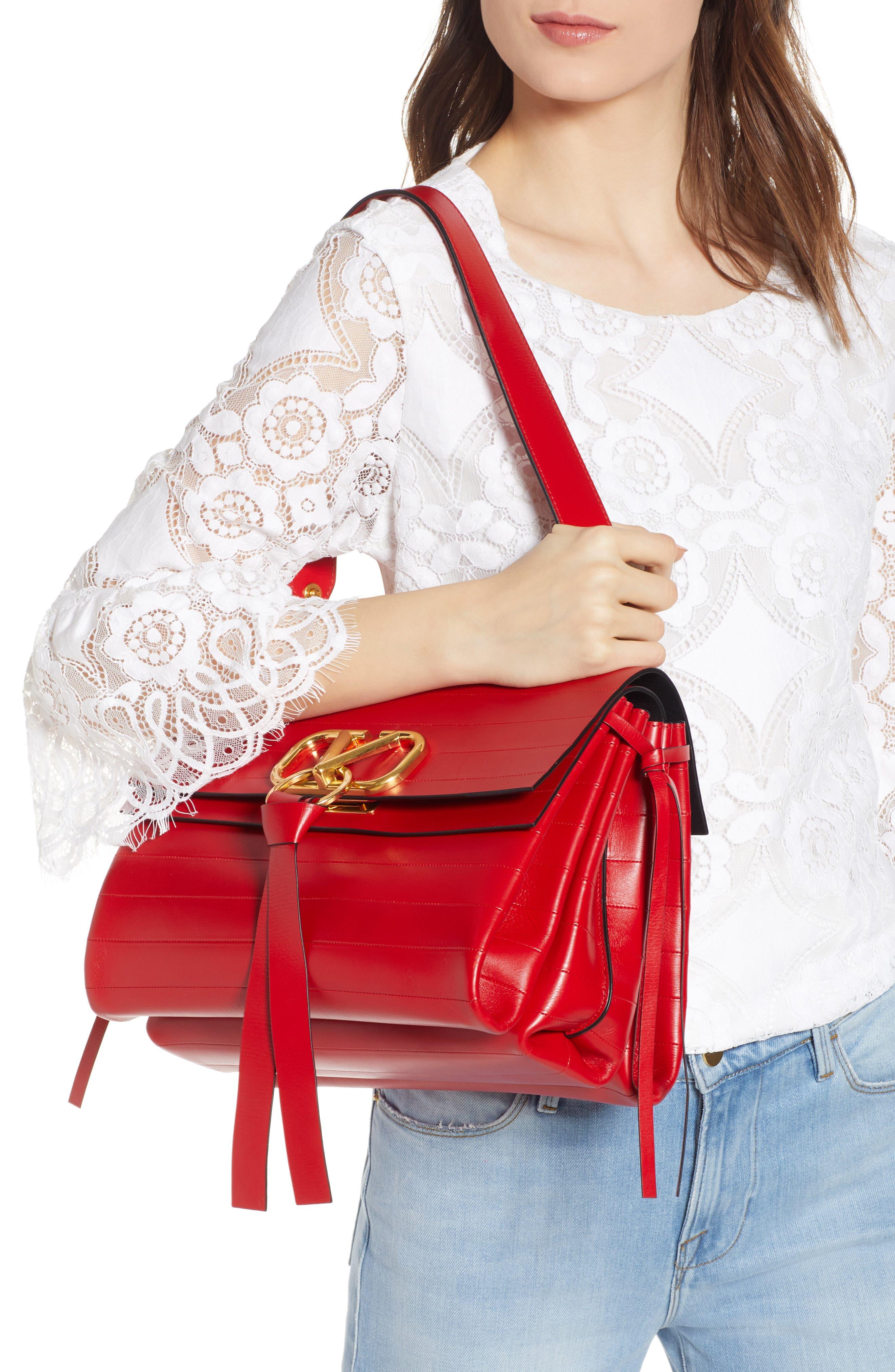 ,                             Medium V-Ring Leather Shoulder Bag,                             Alternate thumbnail 2, color,                             ROUGE PUR
