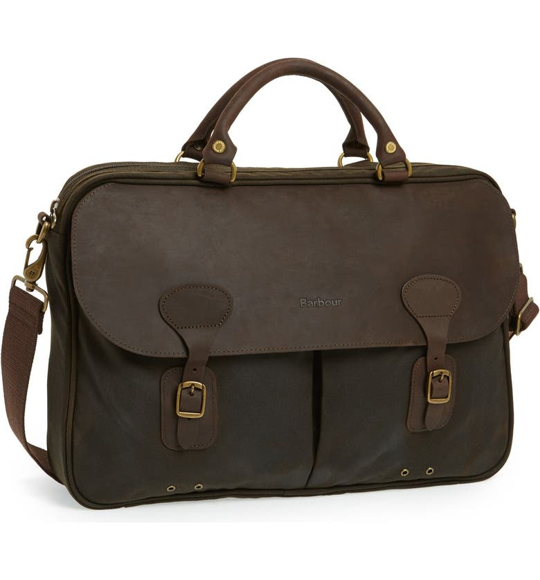 BARBOUR Waxed Canvas Briefcase, Main, color, 340