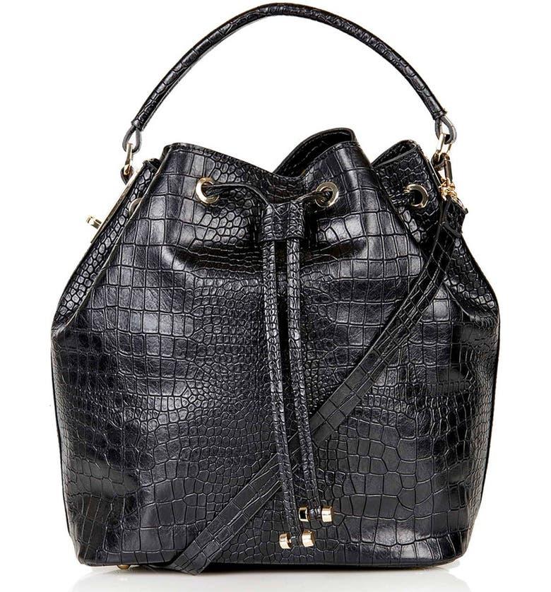TOPSHOP Croc Embossed Bucket Bag, Main, color, 001