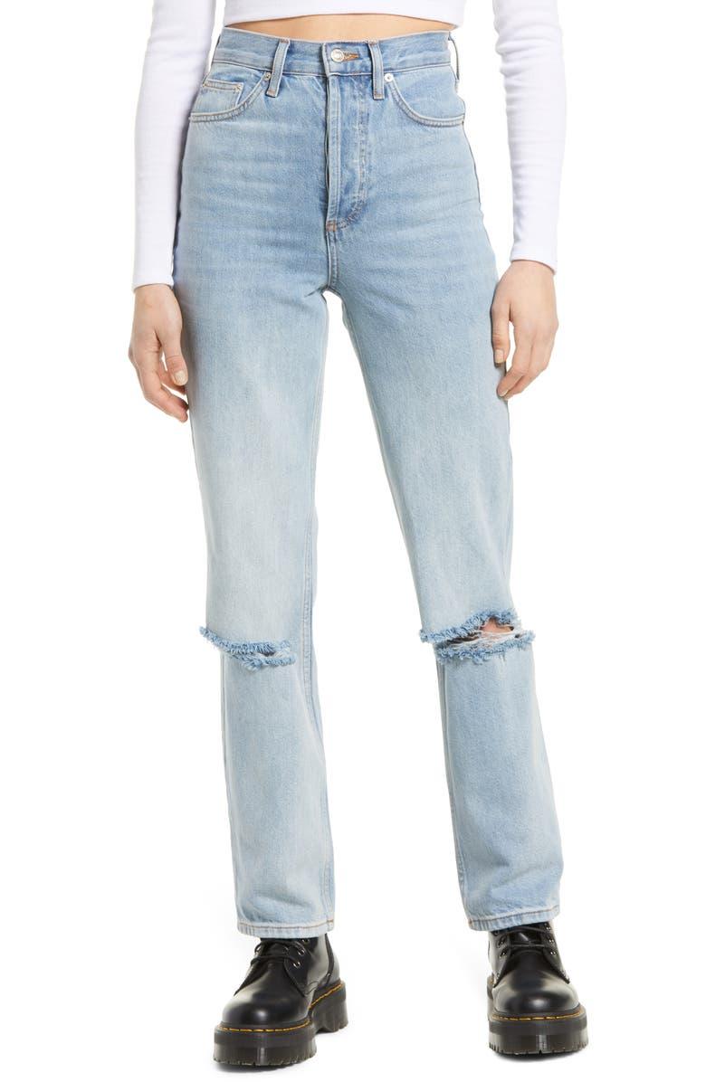 TOPSHOP Kort Bleach Rip Straight Leg Jeans, Main, color, 400