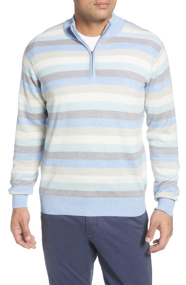 PETER MILLAR Summer Stripe Quarter Zip Sweater, Main, color, BRITISH GREY