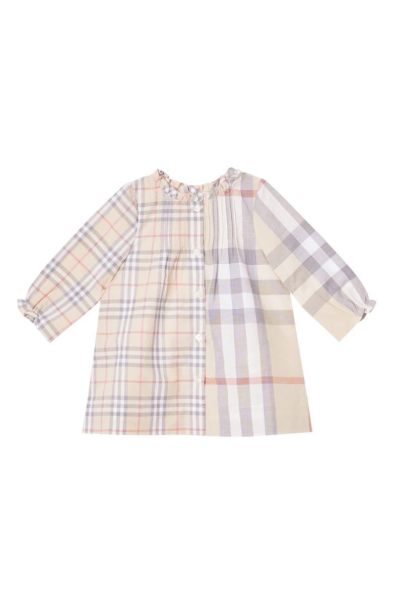 BURBERRY Marissa Check Long Sleeve Shift Dress, Main, color, PALE STONE  CHECK