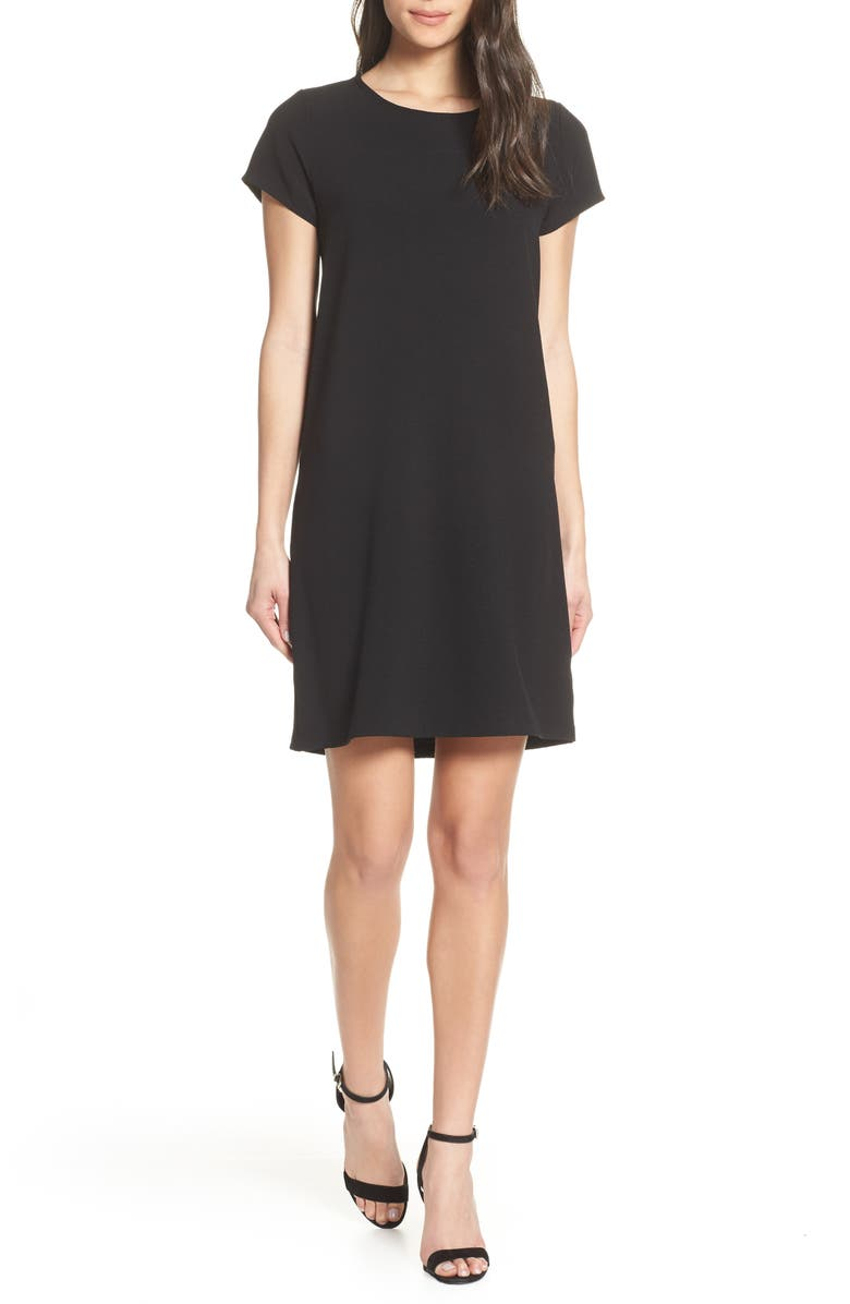 CHELSEA28 Crepe Shift Dress, Main, color, BLACK