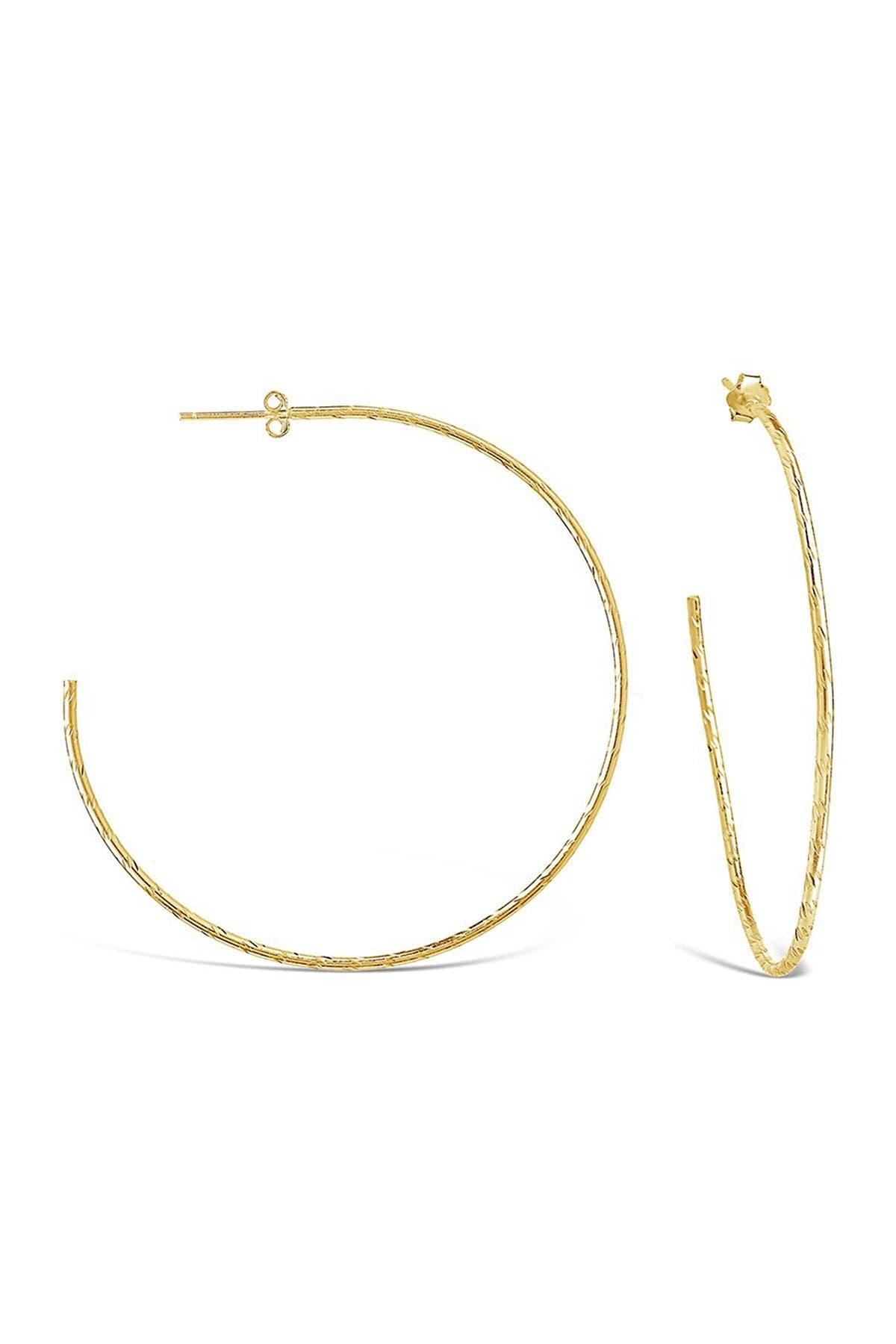 "Sterling Forever 14K Yellow Gold Vermeil Hammered 2.25"" Hoop Earrings"