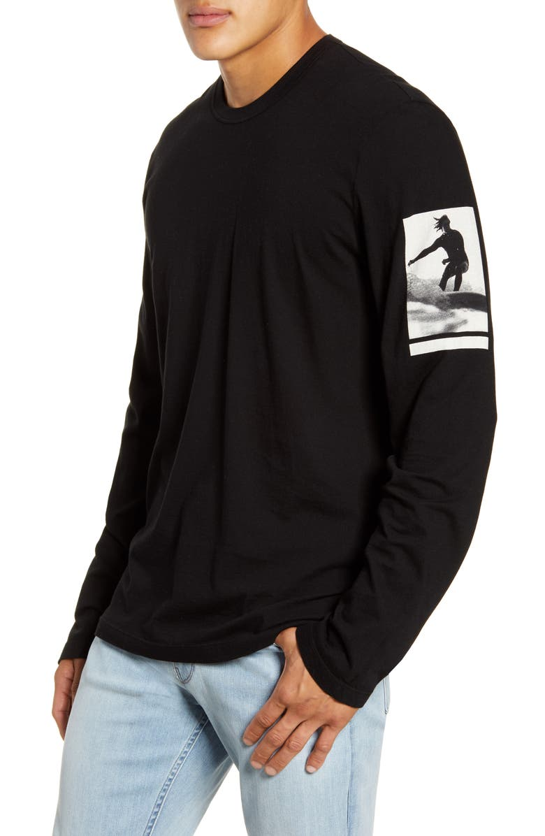 James Perse Wave Graphic Long Sleeve T Shirt