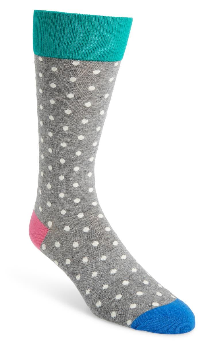FUN SOCKS Micro Dot Crew Socks, Main, color, GREY MULTI