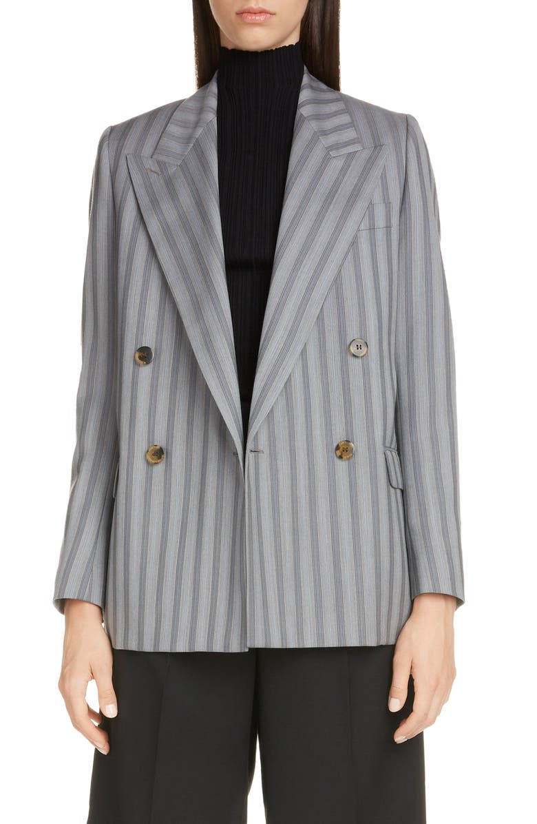 ACNE STUDIOS Janny Double Breasted Pinstripe Wool Blazer, Main, color, LIGHT GREY