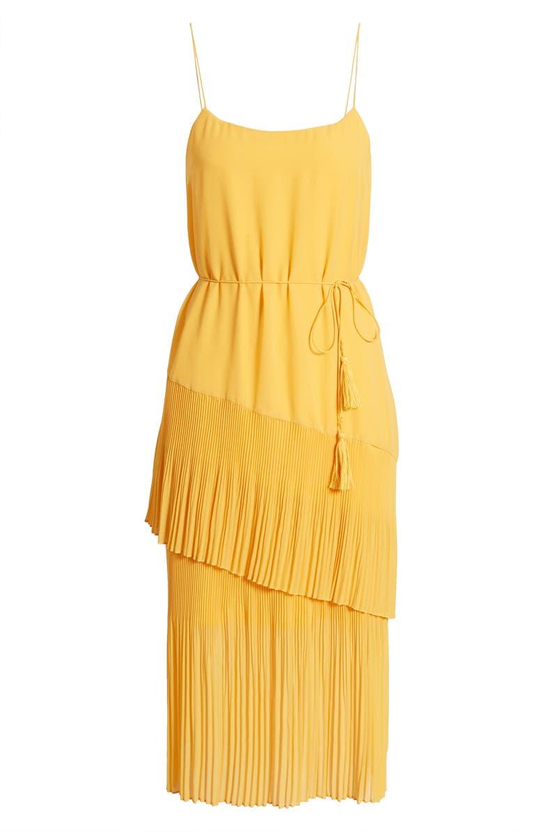 CHELSEA28 Ruffle Tie Waist Midi Dress, Main, color, YELLOW VIBRANT
