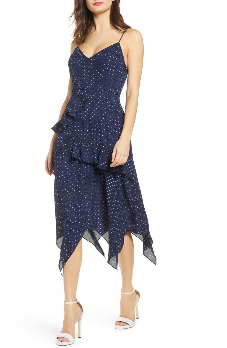 ROW A Side Ruffle Maxi Dress, Main, color, 410
