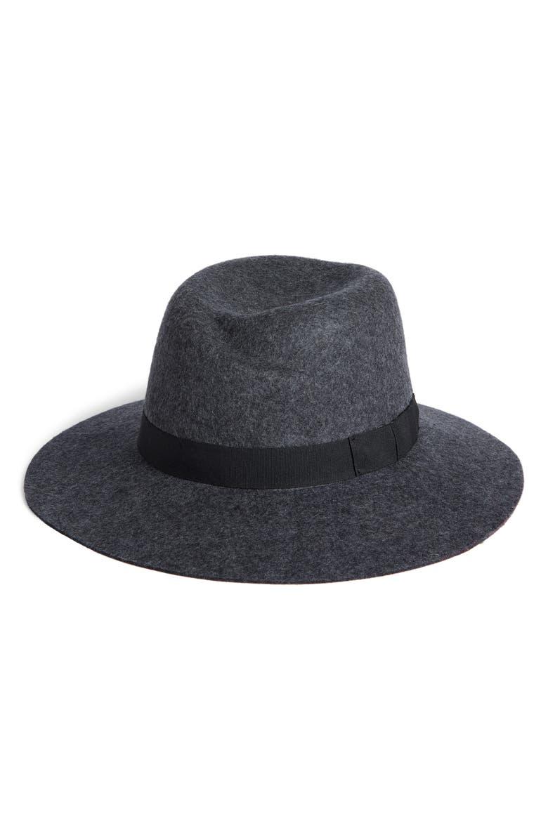 NORDSTROM Tulip Crown Wool Felt Hat, Main, color, GREY DARK HEATHER COMBO