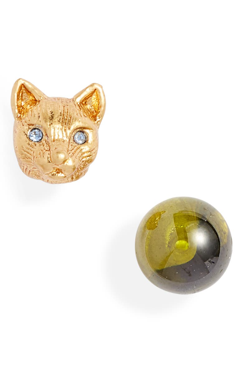 KATE SPADE NEW YORK house cat mismatched stud earrings, Main, color, 300