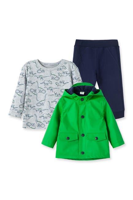Image of Little Me Green Jacket, Shark T-Shirt, & Pants Set