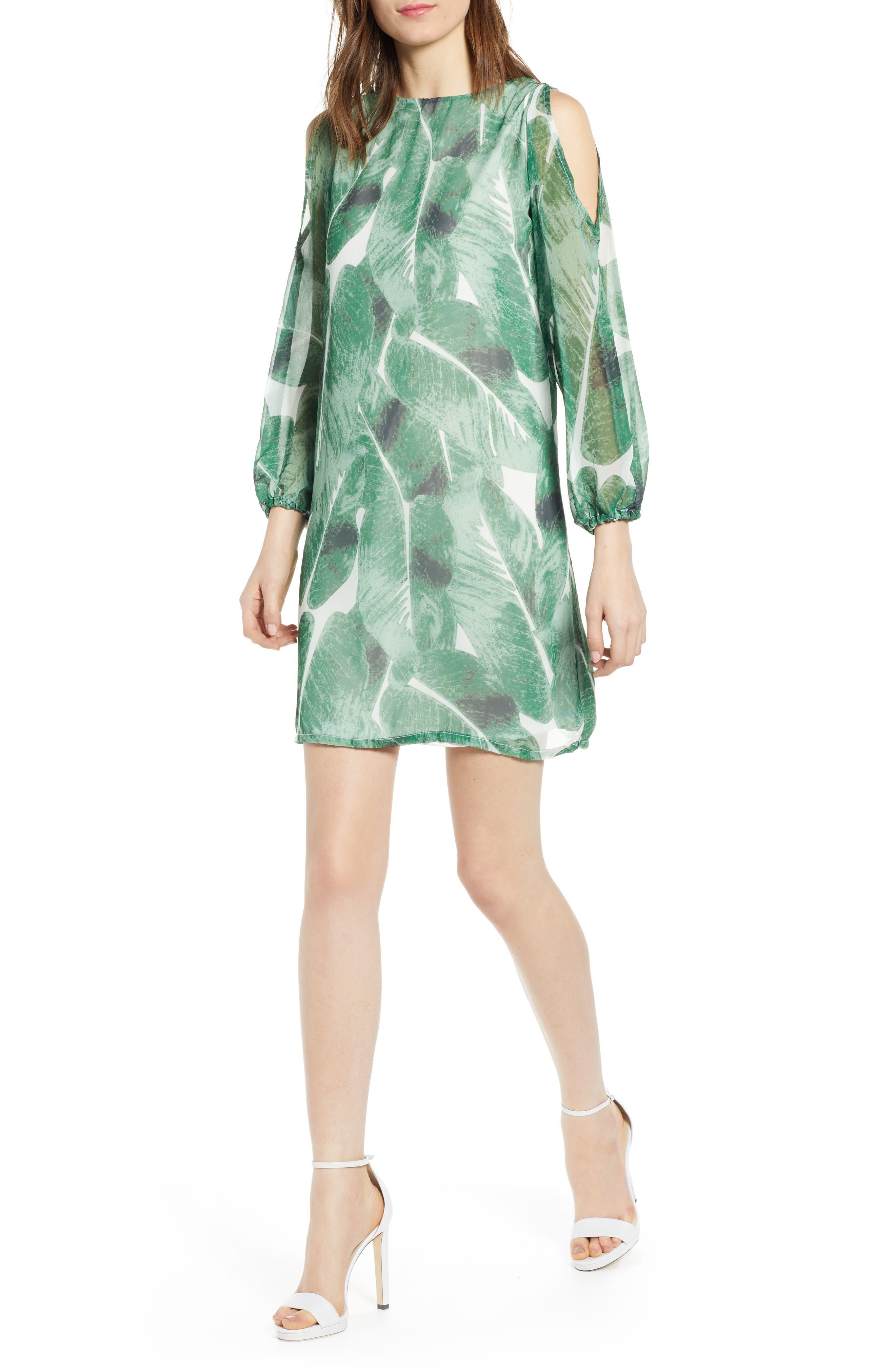 Sentimental Ny Cold Shoulder Shift Dress, Green
