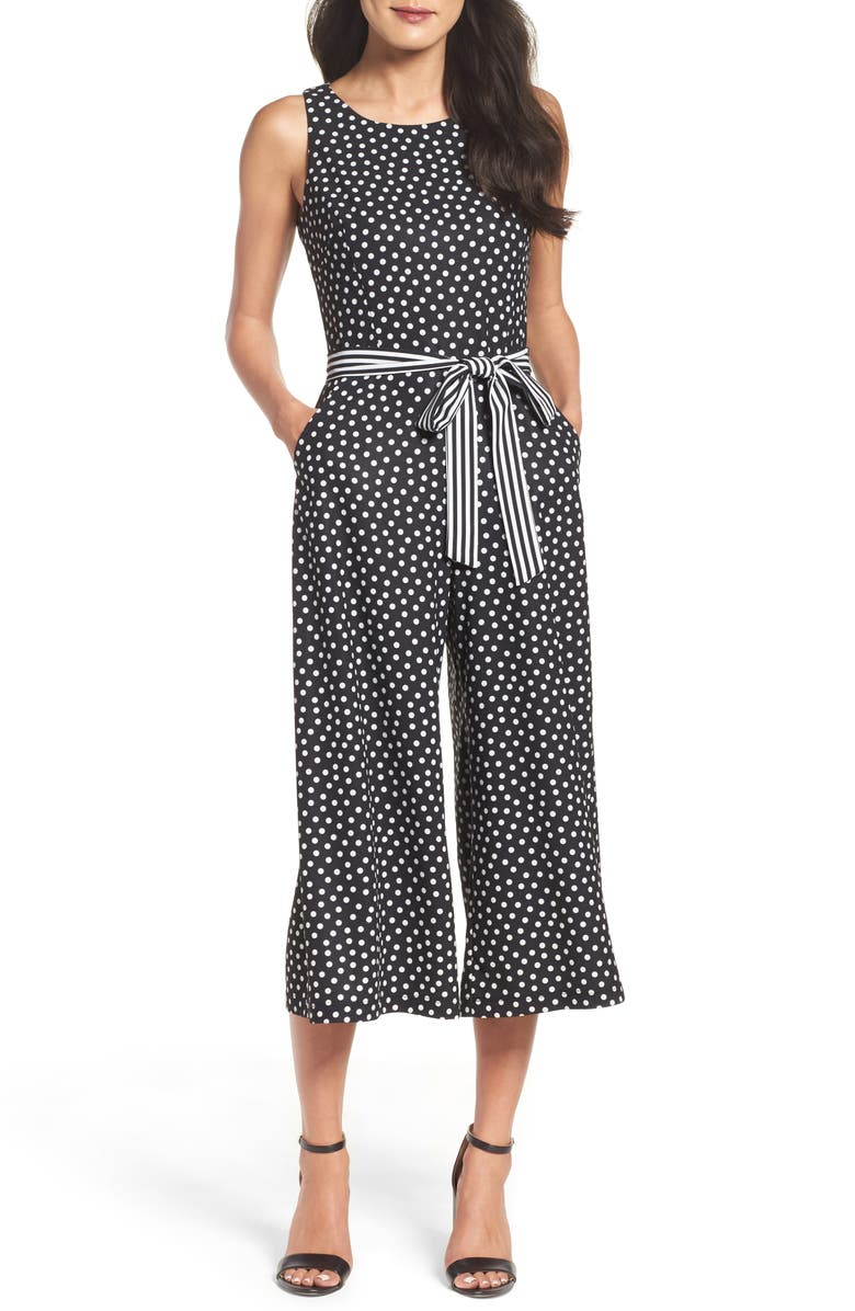 GABBY SKYE Polka Dot Culotte Jumpsuit, Main, color, 001