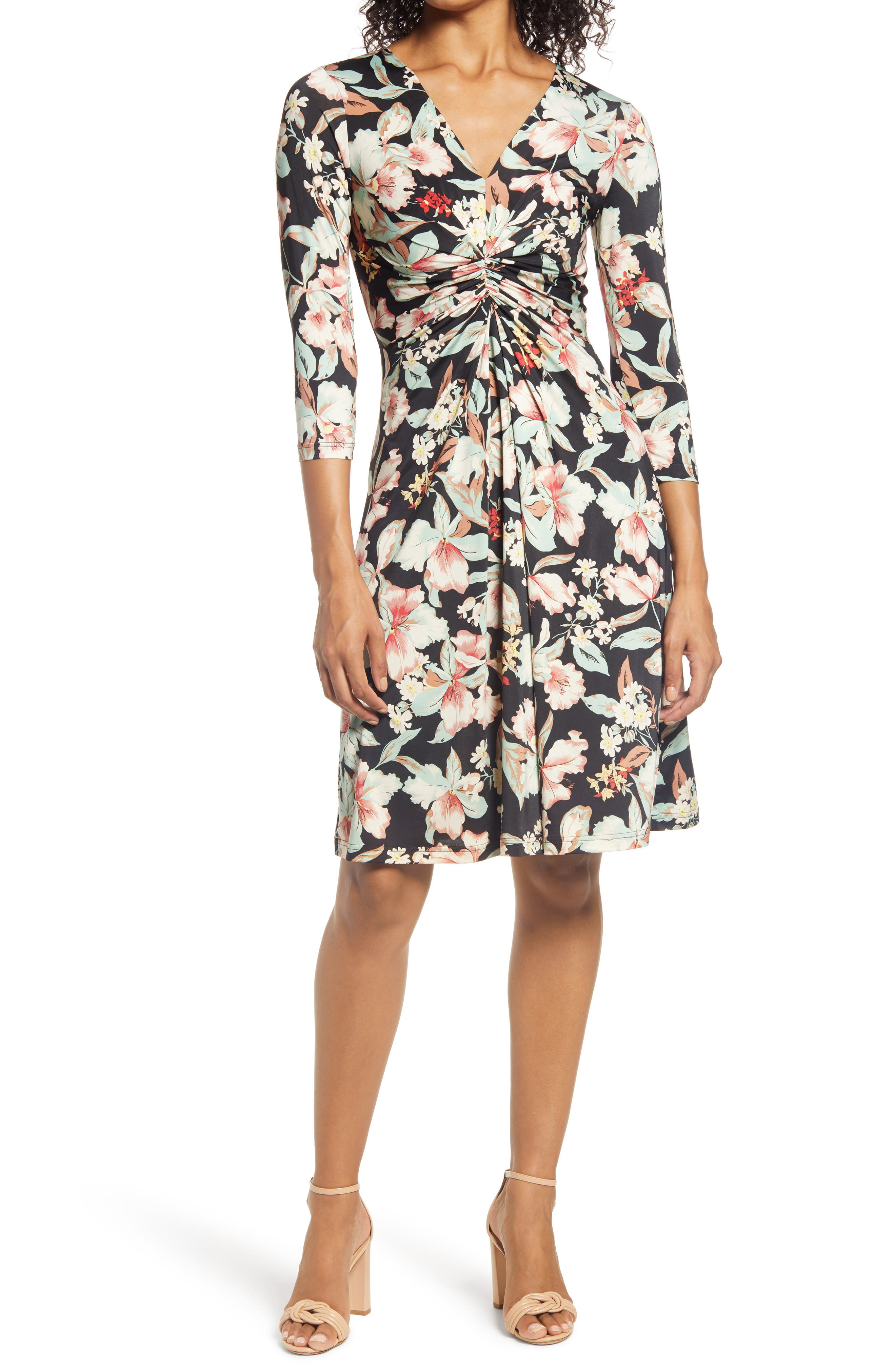 Floral Twist Front Fit & Flare Jersey Dress