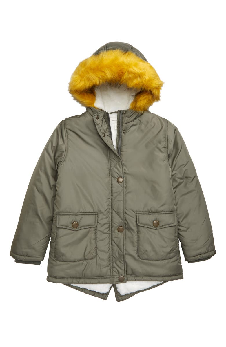 TREASURE & BOND Faux Fur Hooded Parka, Main, color, OLIVE GROVE
