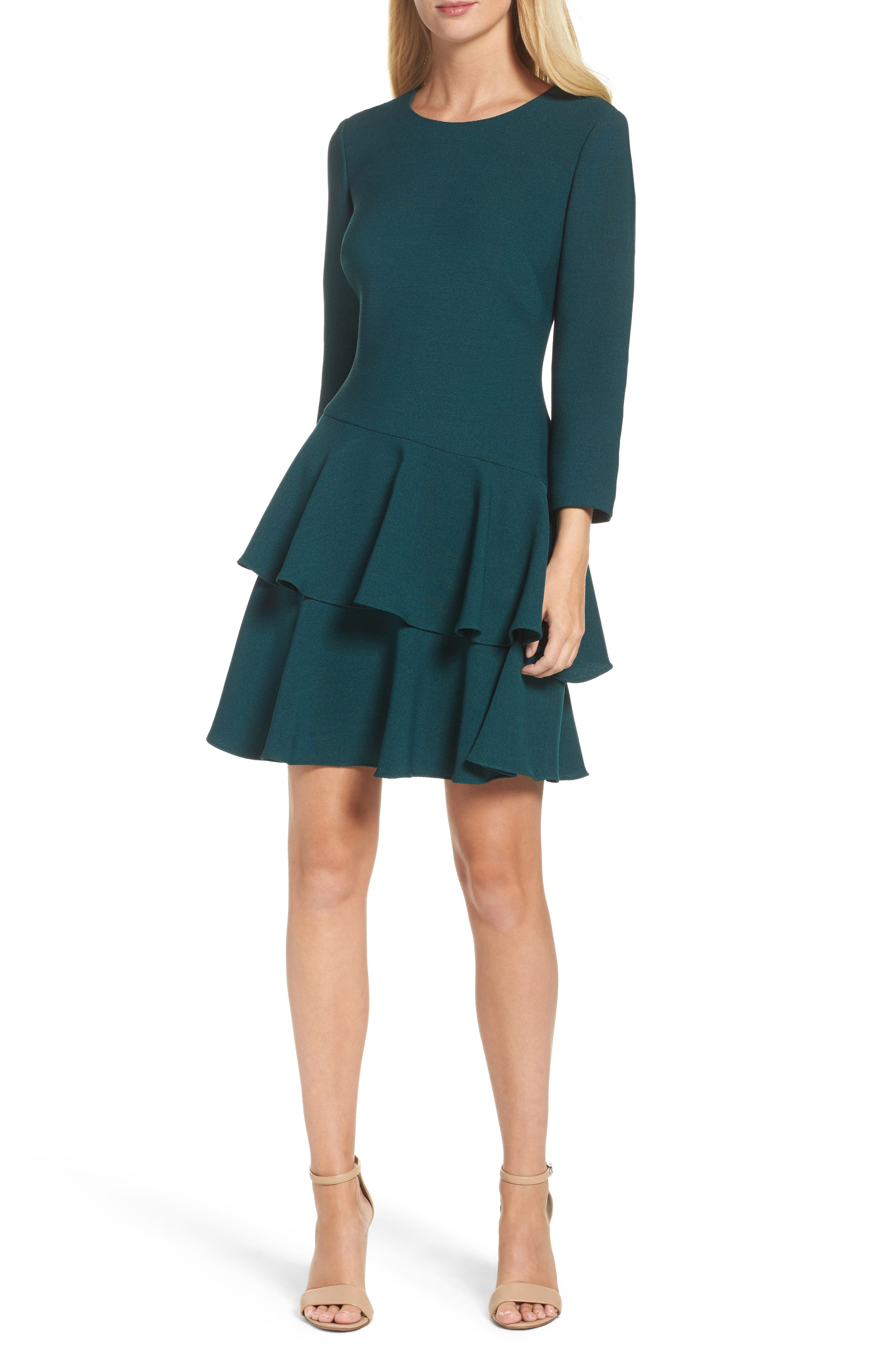 ,                             Tiered Ruffle Knit Dress,                             Alternate thumbnail 12, color,                             302