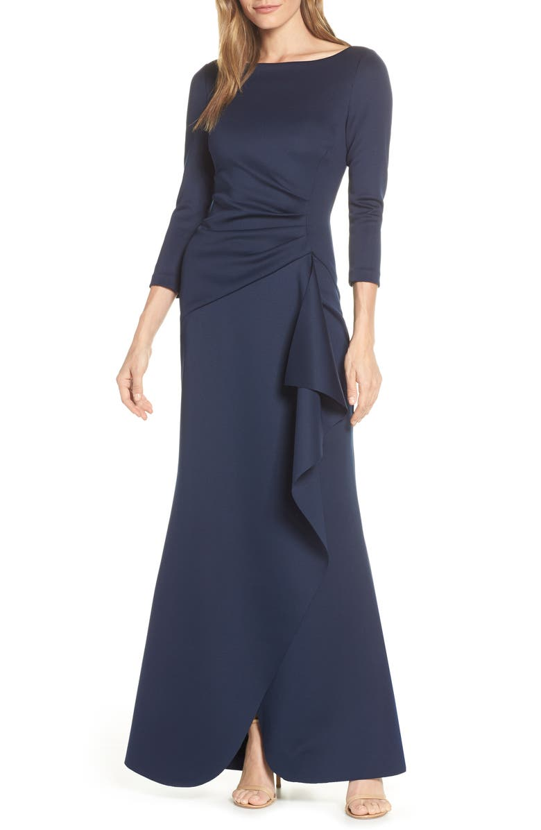 ELIZA J Techno Scuba Pleat Evening Dress, Main, color, NAVY