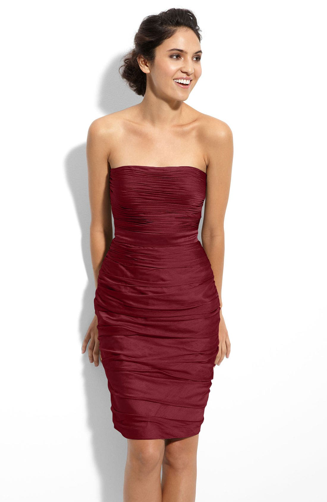 ,                             Ruched Strapless Cationic Chiffon Dress,                             Main thumbnail 87, color,                             930