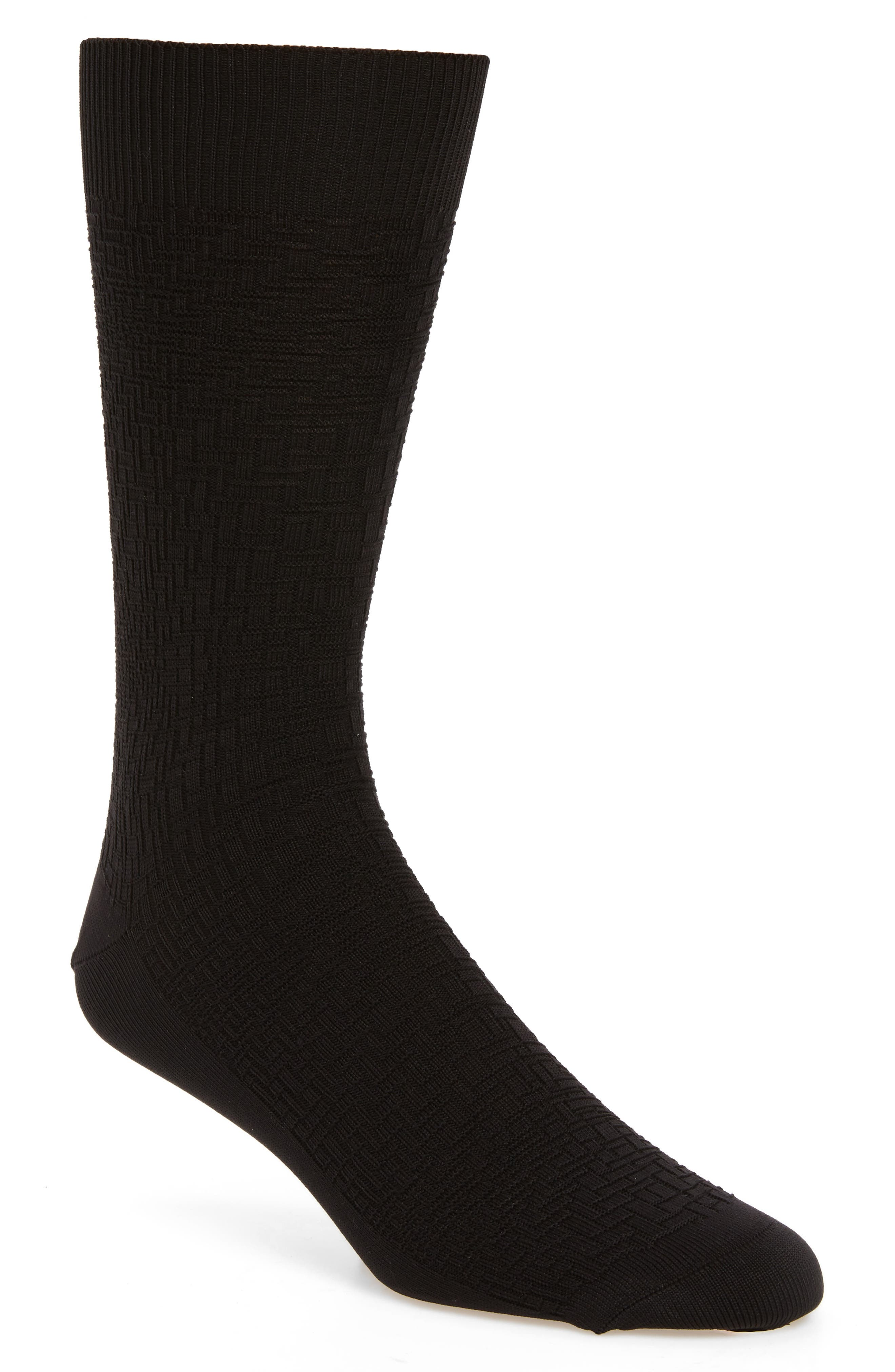 Distorted Texture Crew Socks, Main, color, BLACK