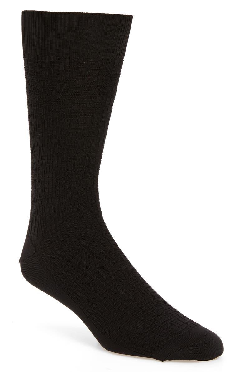 COLE HAAN Distorted Texture Crew Socks, Main, color, BLACK