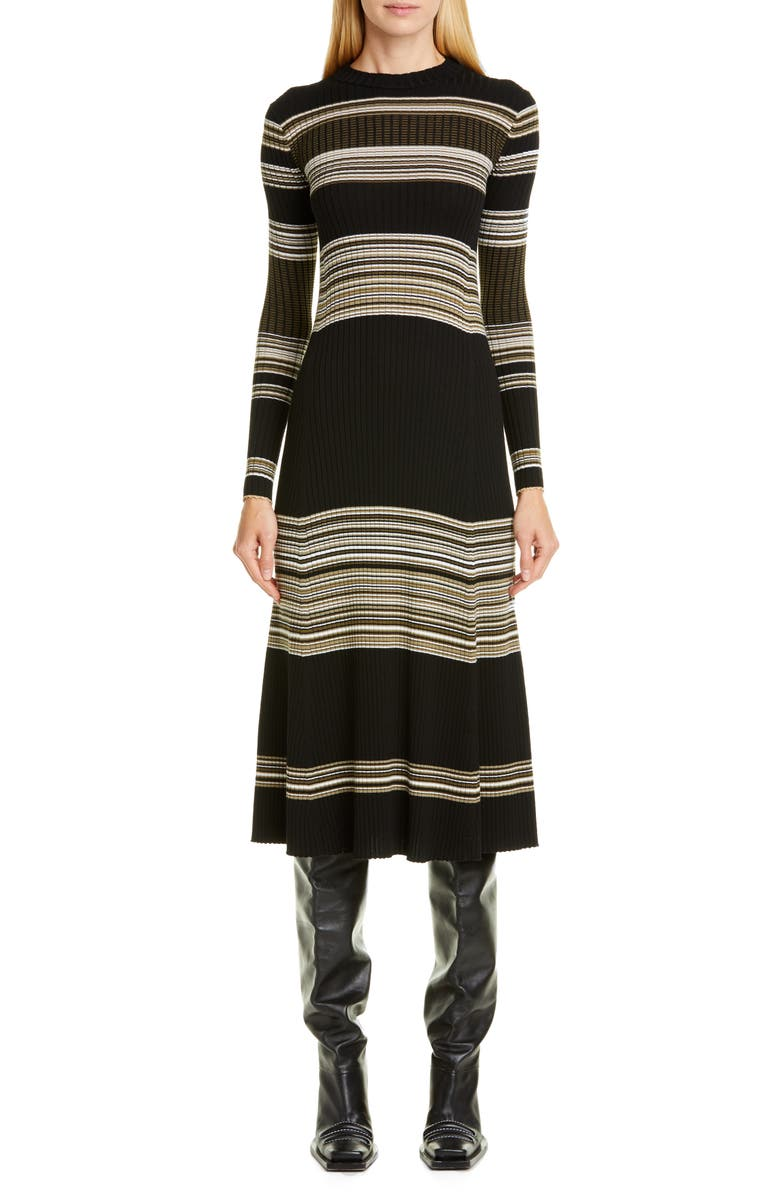PROENZA SCHOULER Stripe Long Sleeve Merino Wool Blend Sweater Dress, Main, color, BLACK/ KHAKI