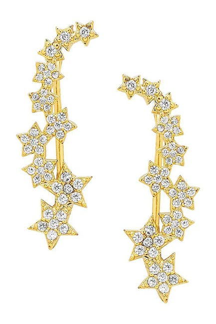 Image of Sterling Forever 14K Gold Plated CZ Star Ear Crawlers