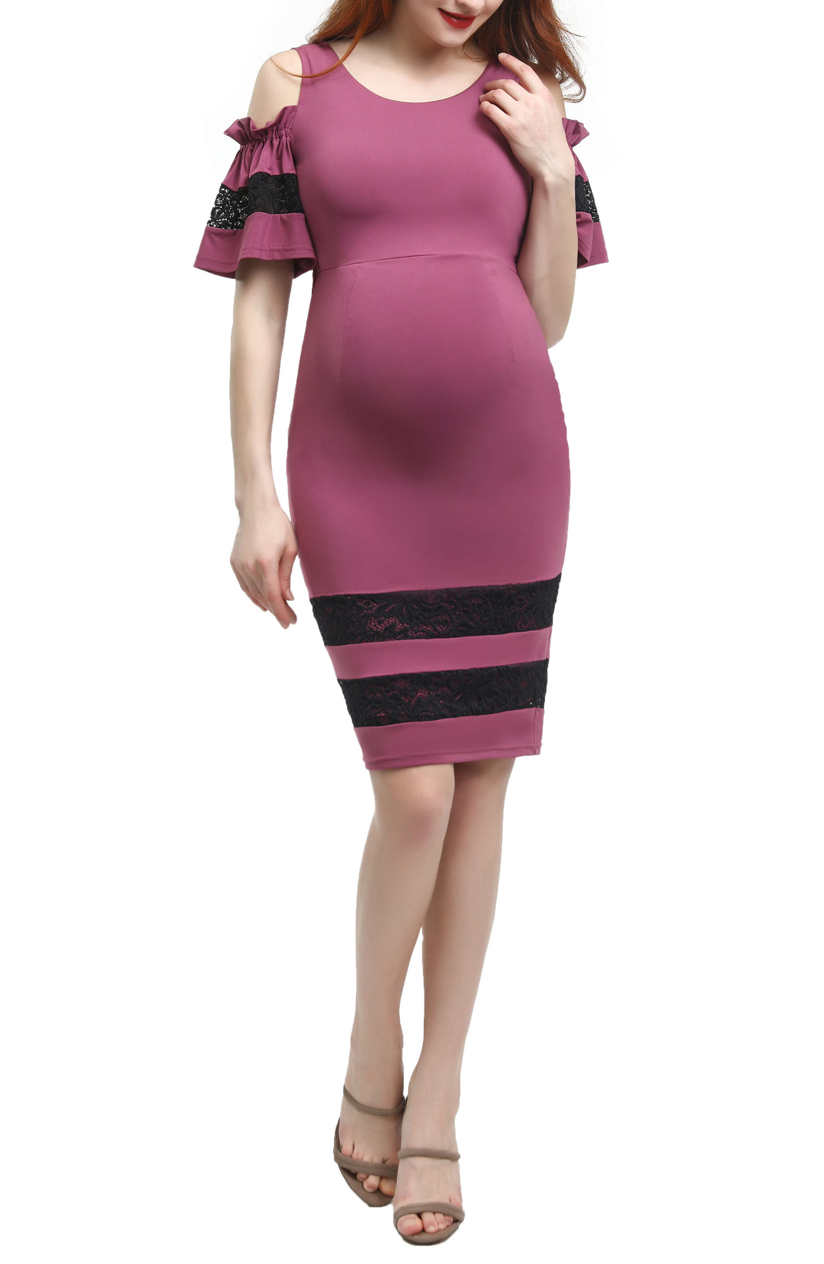 Kimi And Kai Marissa Cold Shoulder Maternity Sheath Dress, Pink
