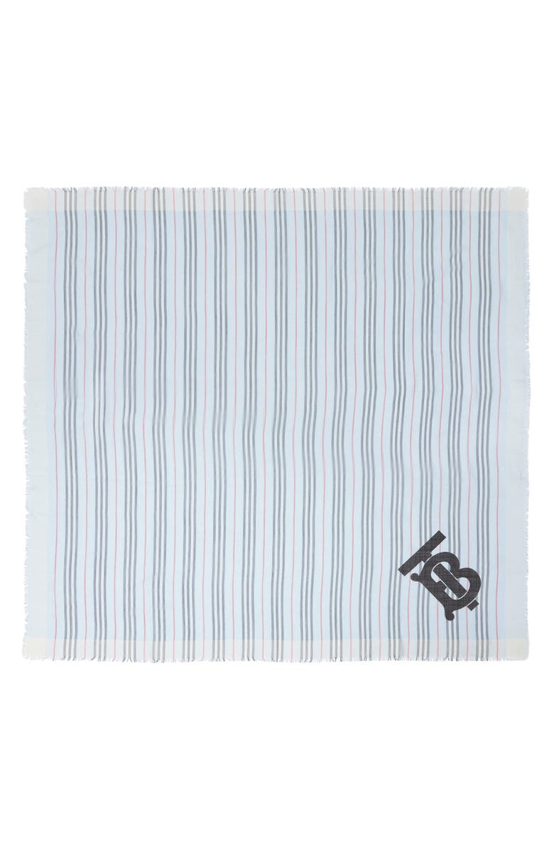 BURBERRY TB Monogram Heritage Stripe Scarf, Main, color, PALE BLUE