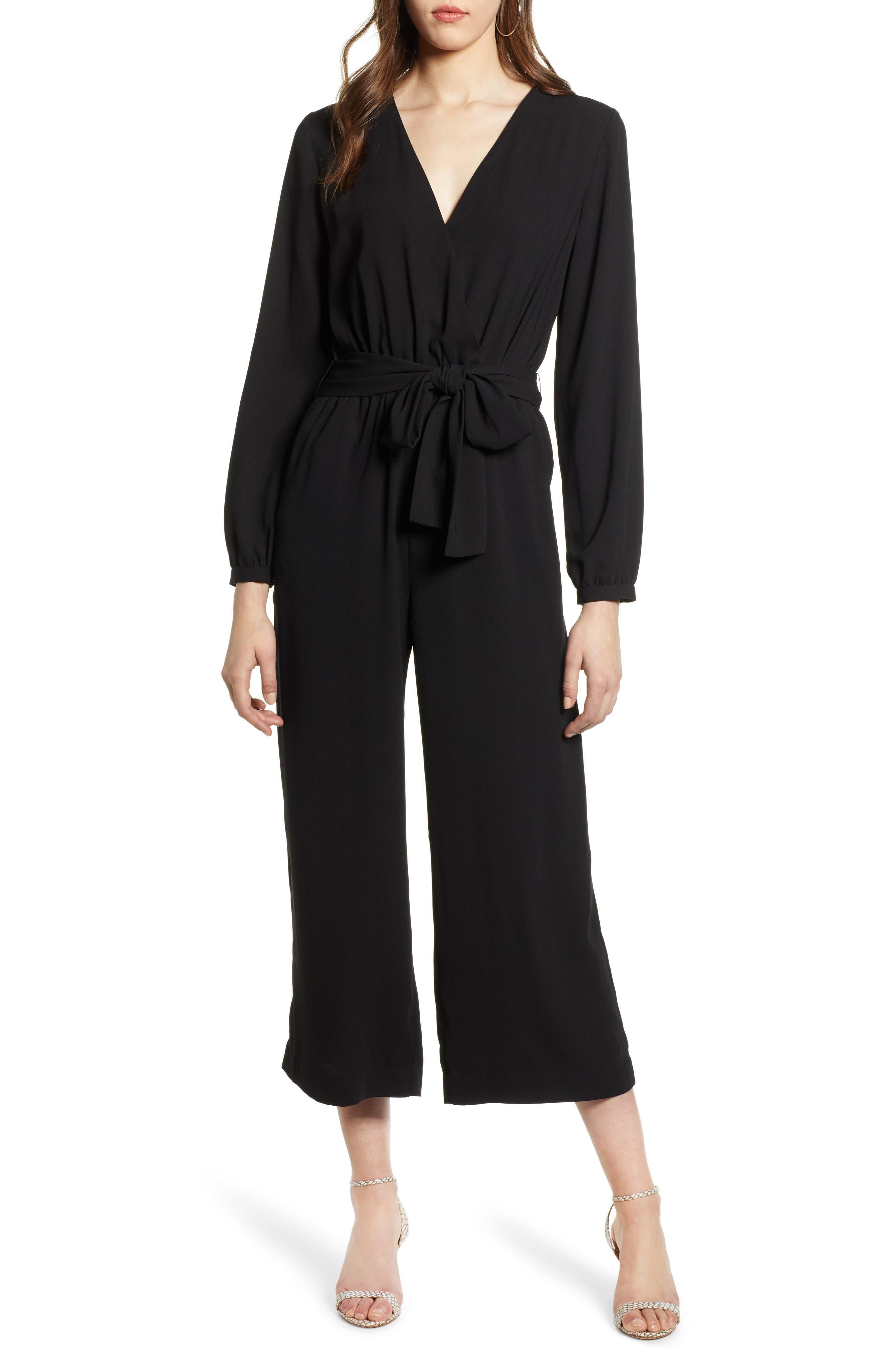 Tie Waist Jumpsuit, Main, color, BLACK