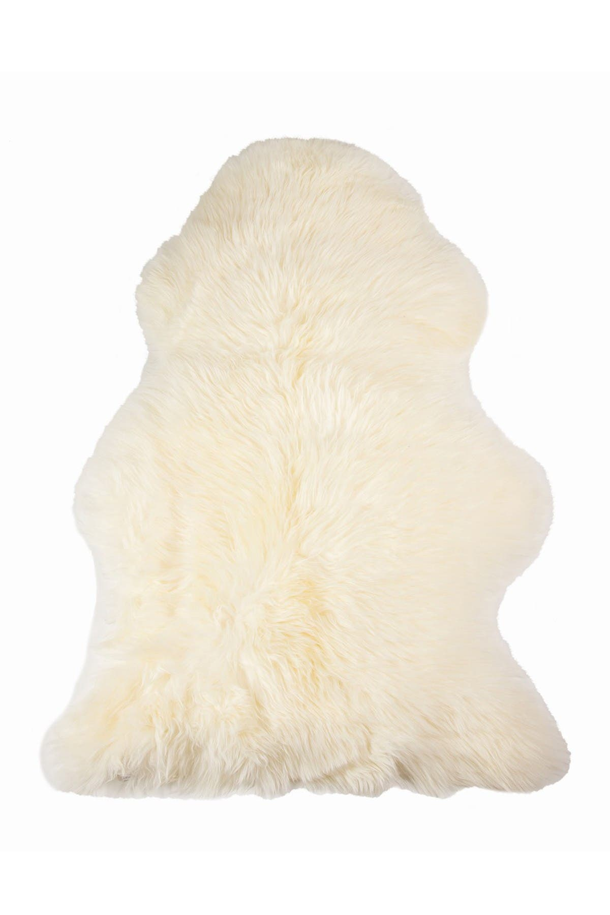 "Image of Natural Milan Genuine Sheepskin Shearling Throw 24"" x 36"" - Ivory"