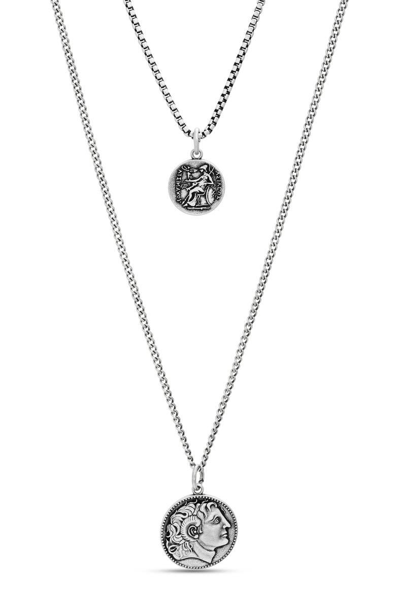 STEVE MADDEN Roman Coin Double Pendant Necklace, Main, color, METALLIC SILVER
