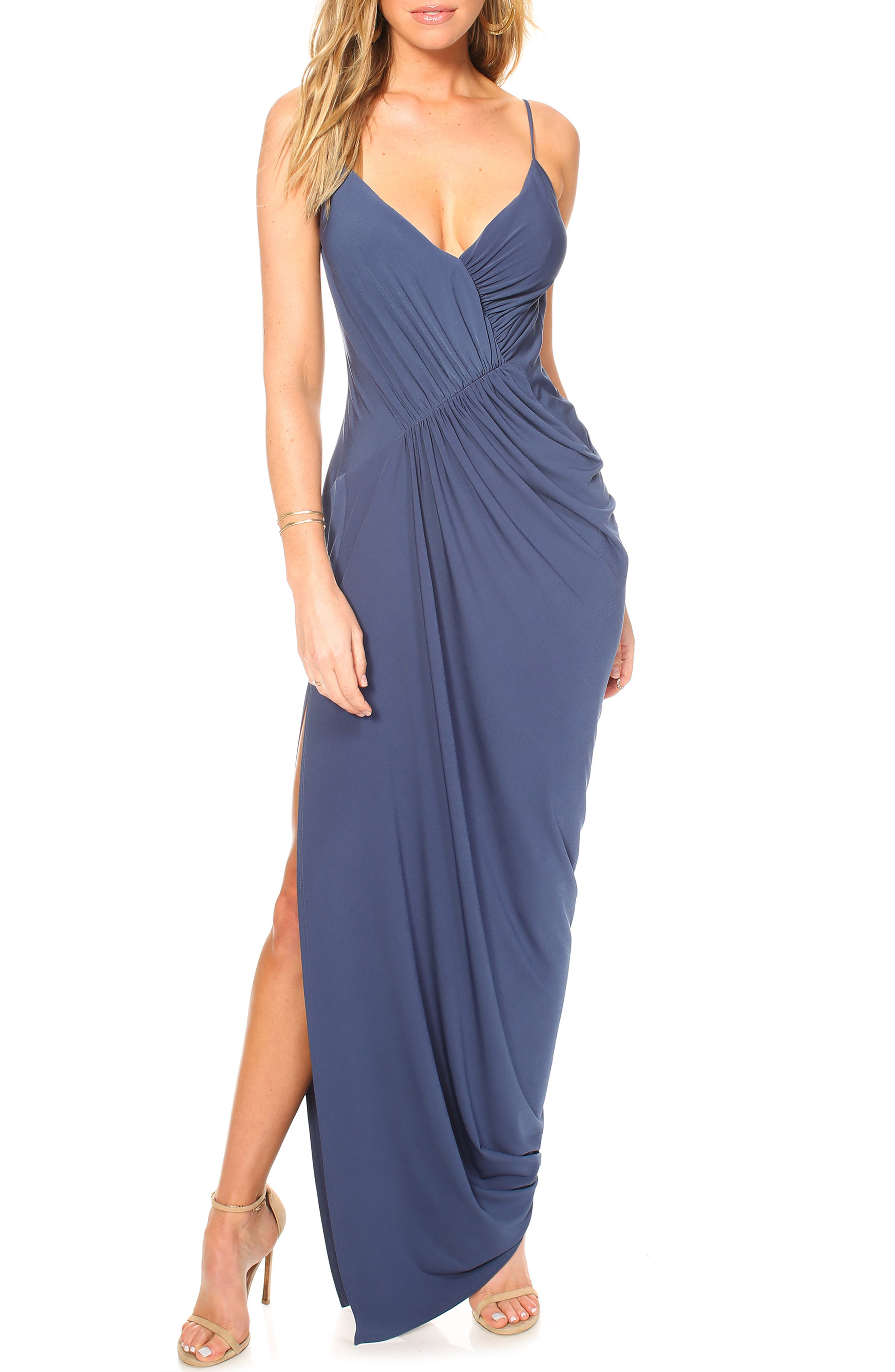 Katie May Ruched Side Drape Evening Dress, Blue