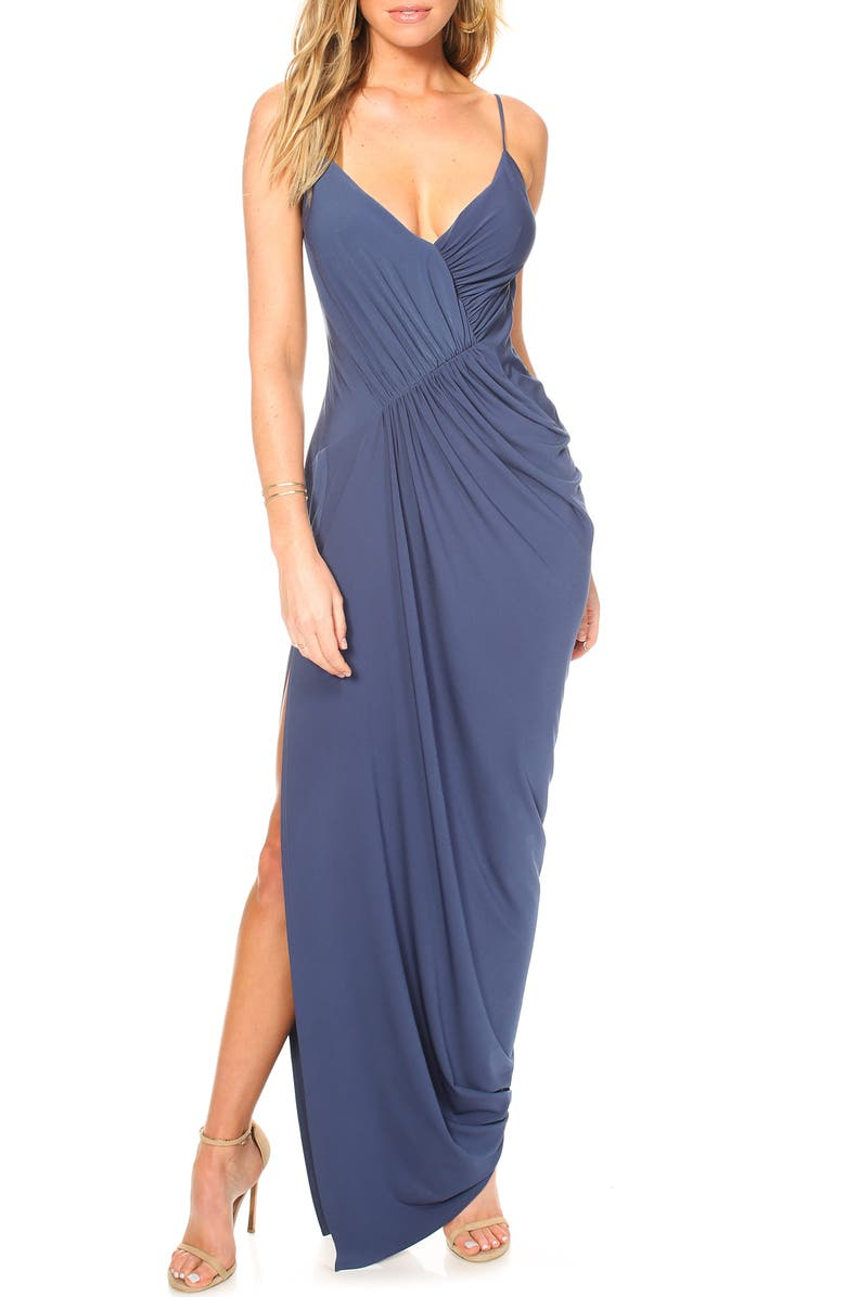 KATIE MAY Ruched Side Drape Evening Dress, Main, color, 410