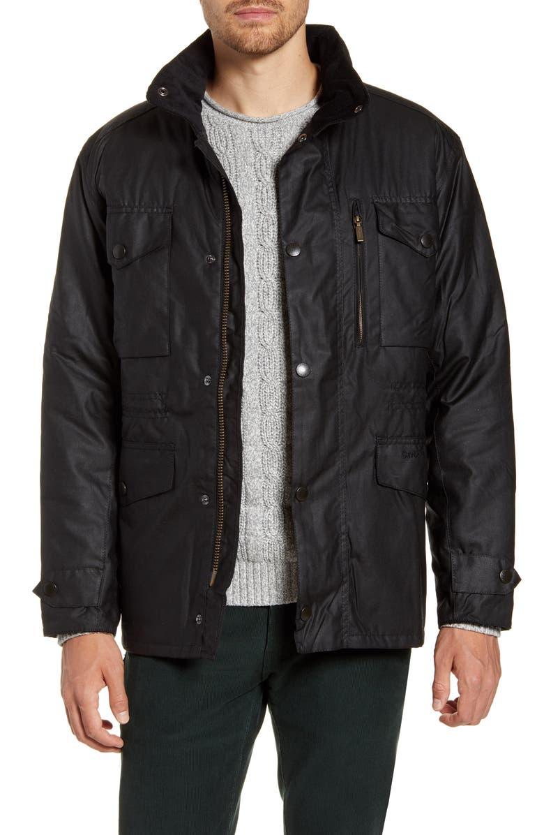 BARBOUR Sapper Regular Fit Weatherproof Waxed Cotton Jacket, Main, color, BLACK
