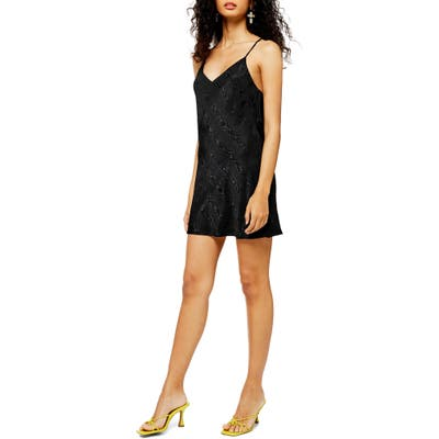 Topshop Jacquard Satin Slipdress, US (fits like 2-4) - Black