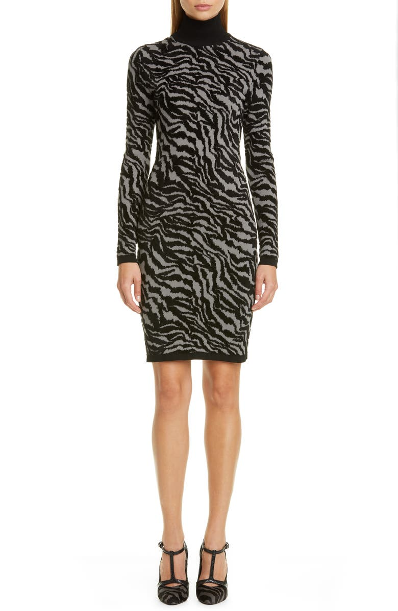 MICHAEL KORS COLLECTION Michael Kors Zebra Jacquard Long Sleeve Sweater Dress, Main, color, SLATE MULTI