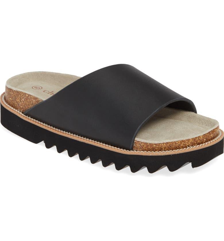 CHOOKA Casey Slide Sandal, Main, color, BLACK LEATHER