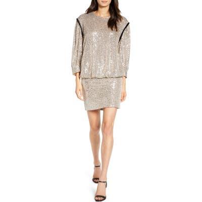 7 For All Mankind Sequin Long Sleeve Blouson Minidress, Grey