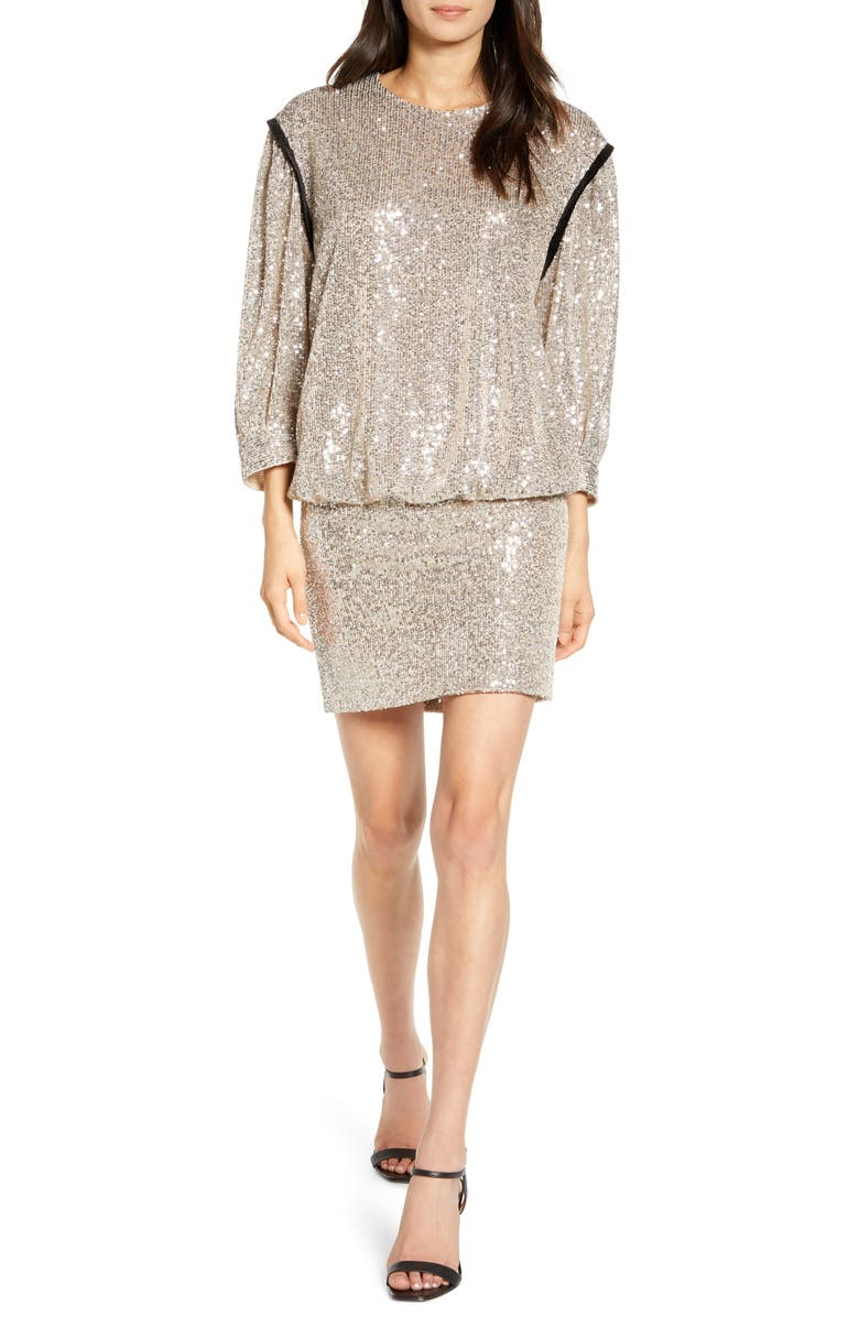 7 FOR ALL MANKIND<SUP>®</SUP> Sequin Long Sleeve Blouson Minidress, Main, color, SILVER