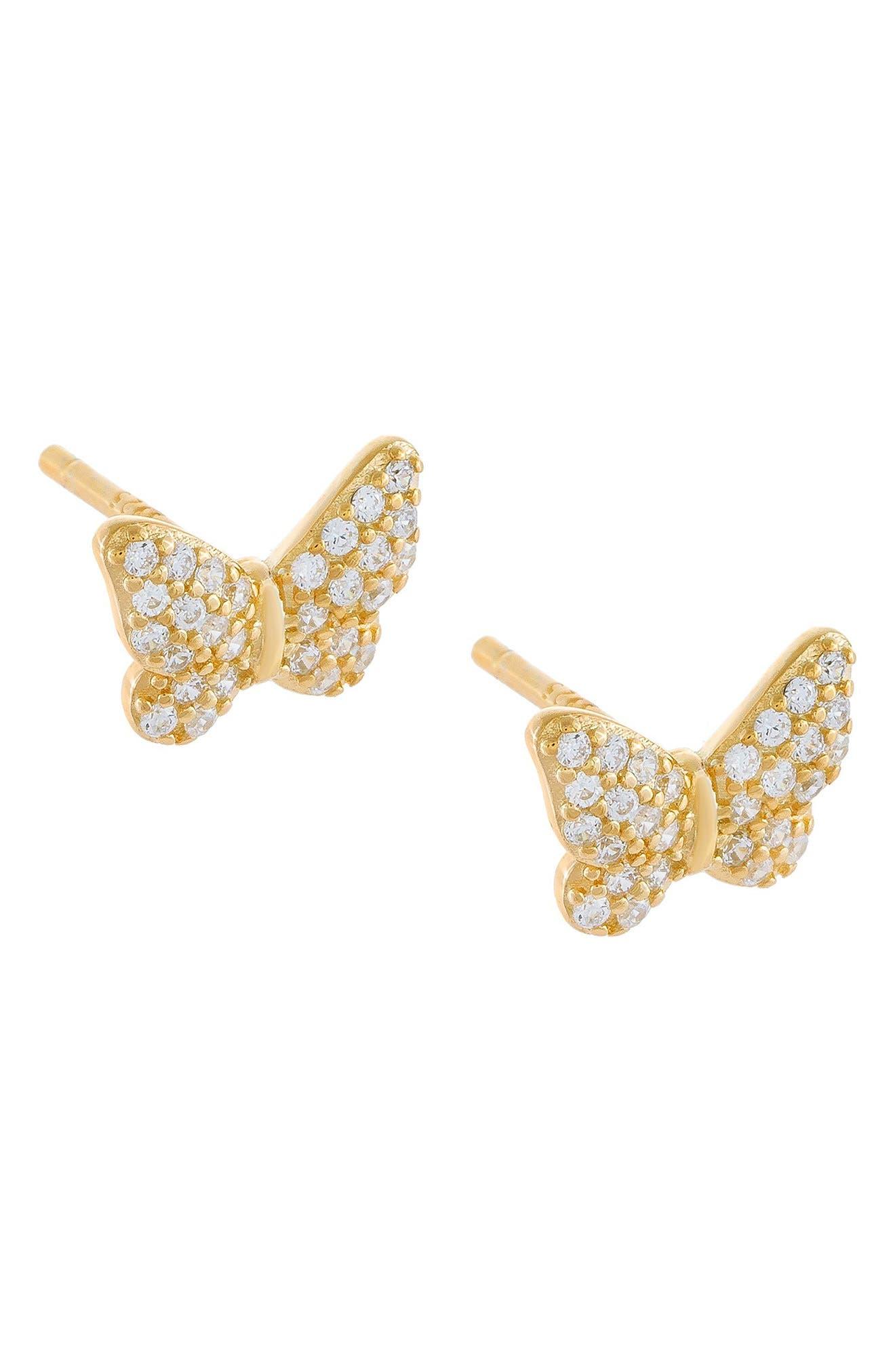 Women's Adina's Jewels Pave Butterfly Stud Earrings