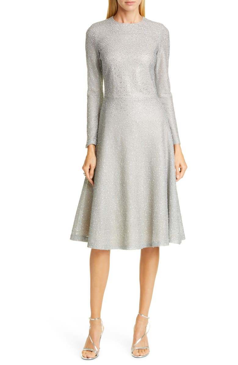 ST. JOHN EVENING Embellished Netting Knit Fit & Flare Dress, Main, color, 020