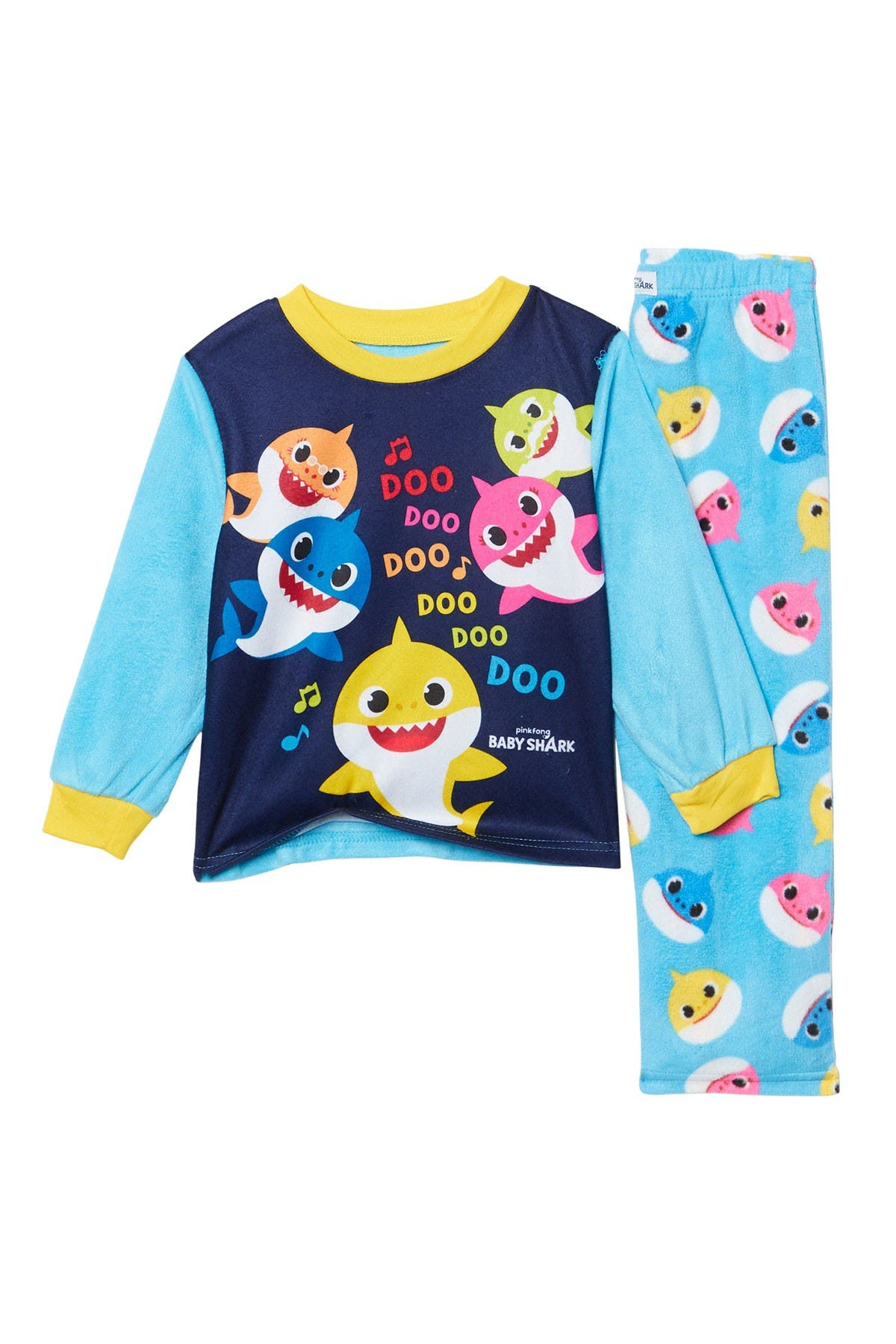 Image of AME Baby Shark Fleece Pant Pajama Set