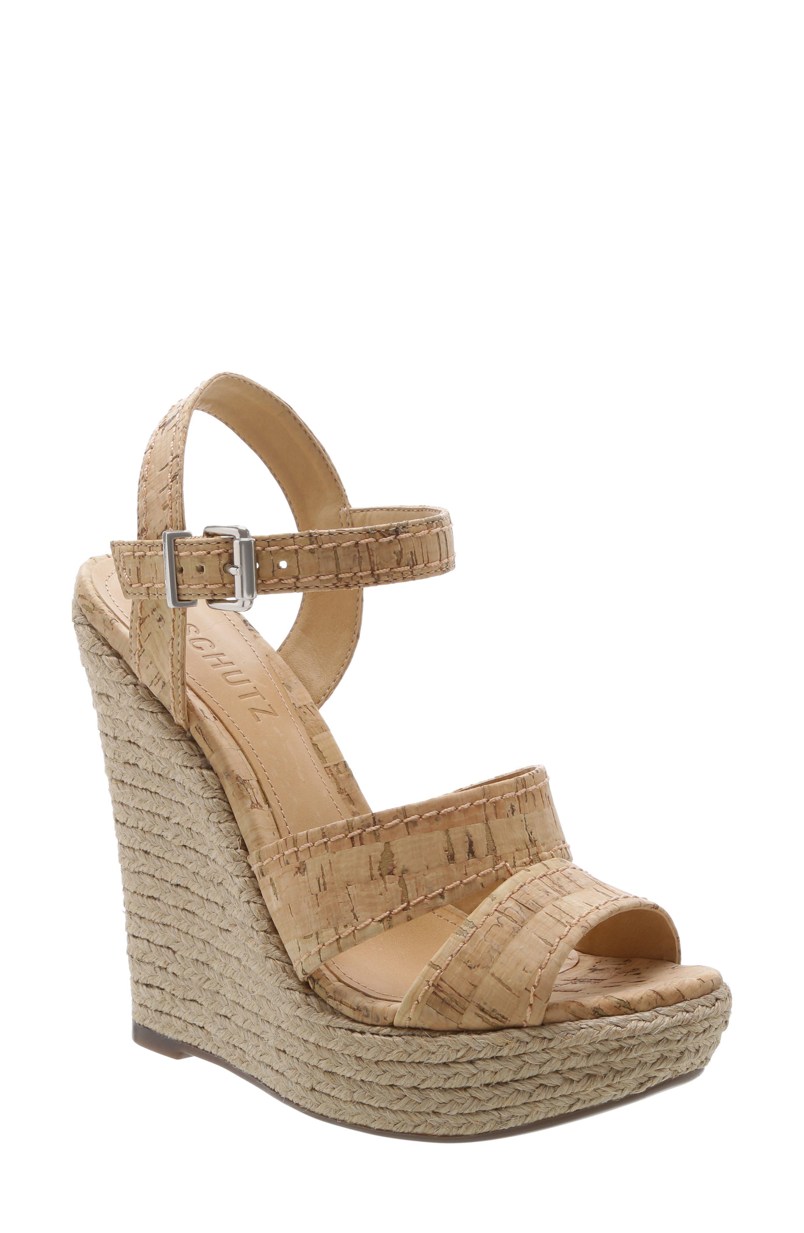 Schutz Dorida Platform Wedge Sandal, Brown